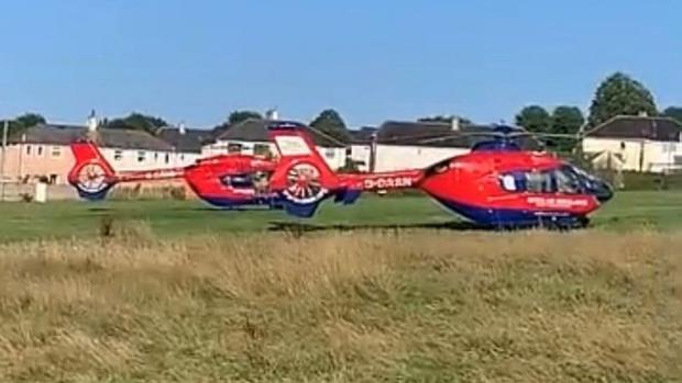 Several air ambulances arrived at the scene.  (Snapshot).