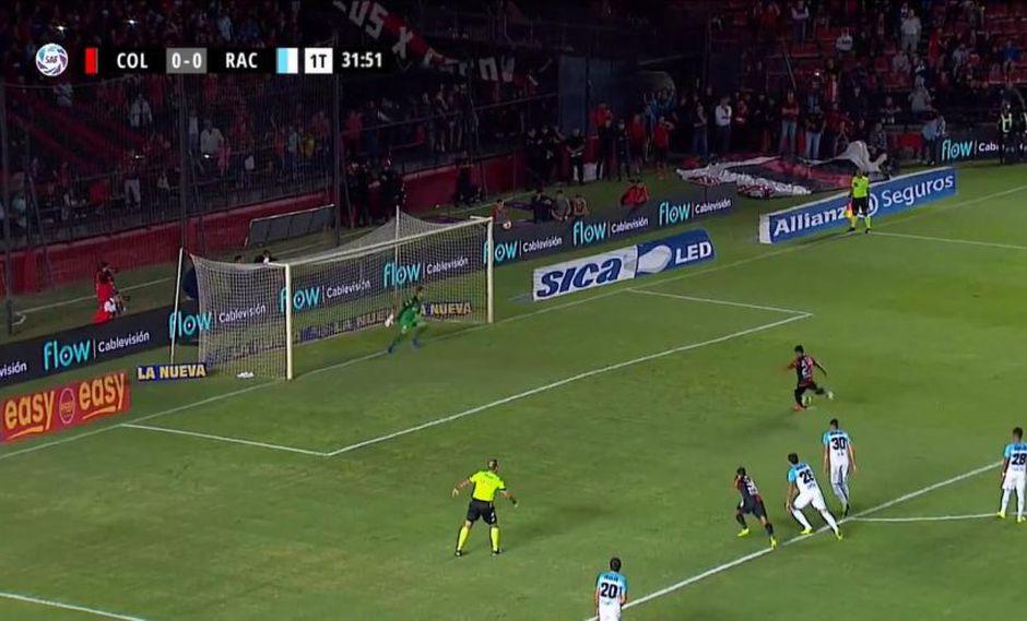 Wilson Morelo fue el autor del 1-0 en el Racing vs. Colón por una nueva jornada de la Superliga argentina (Foto: captura de pantalla)