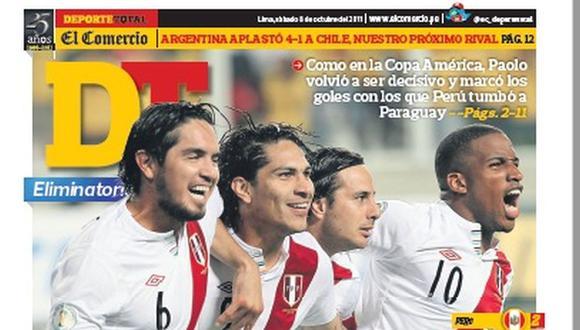 El Comercio siempre estuvo presente en los arranques de la selección peruana en las Eliminatorias. Aquí la portada del 2011 ante Paraguay en Lima. (Foto: El Comercio)