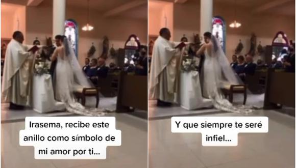 """""""Siempre te seré infiel"""": se equivoca en el altar durante su boda y su error se vuelve viral. (Foto: @lulycantu / TikTok)"""
