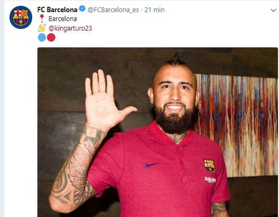 La primera imagen de Vidal como jugador de Barcelona. (Foto: Twitter)