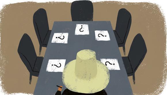 """""""El dólar no para de subir y el profesor Castillo se ha mantenido en silencio sin hacer nada por reducir la incertidumbre"""". (Ilustración: Giovanni Tazza)"""