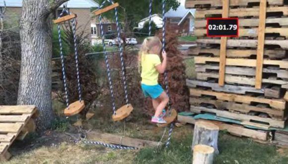"""YouTube: papá hizo circuito de """"Ninja Warrior"""" para su hija"""