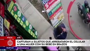 Ate: Detienen a sujetos que arrebataron celular a mujer que estaba con bebé