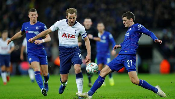 Un solitario gol de Harry Kane le permitió a Tottenham llevarse la ventaja en la primera semifinal de la Copa de la Liga sobre el Chelsea. (Foto: AFP)
