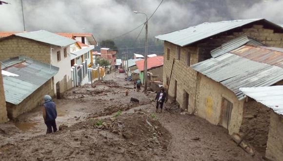 El huaico que ocurrió ayer en el distrito de Challabamba, provincia de Paucartambo, en la región Cusco. (Foto: Andina)