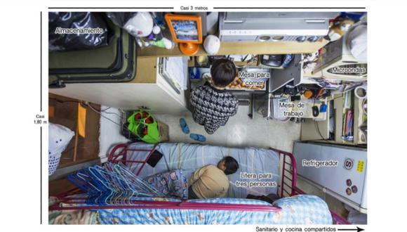 Un típico apartamento subdividido en Hong Kong. Foto Reuters