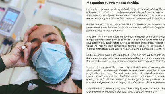 """""""El cáncer me va a matar, pero no me va a quitar ni un minuto del tiempo que me queda"""", dice el mensaje de Omar Álvarez, enfermo de cáncer al que le quedan meses de vida. (Foto: @omaralvarez1987 y @OmarAlvarez_ / Instagram y Twitter)"""