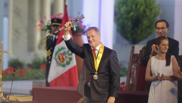 Jorge Muñoz asumió funciones como alcalde de Lima. (Foto: Alonso Chero / El Comercio)