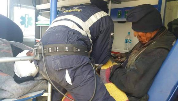 Los mineros que resultaron heridos durante el derrumbe de un socavón de oro. (Foto: Carlos Fernández)