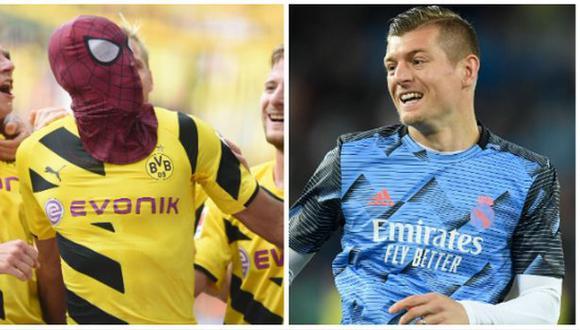 El enfrentamiento de Kroos y Aubameyang por el tema de festejos de gol. (Foto: AFP)