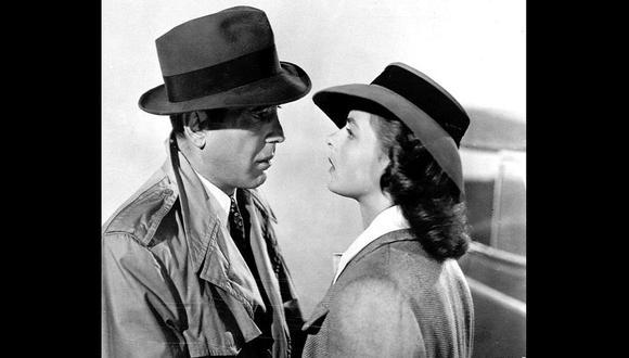 """Los actores Humphrey Bogart, izquierda, y la actriz sueca Ingrid Bergman en una escena de la clásica película """"Casablanca"""". [Foto: AP]"""