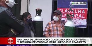 SJL: clausuran local que vendía oxígeno, pero luego fue reabierto