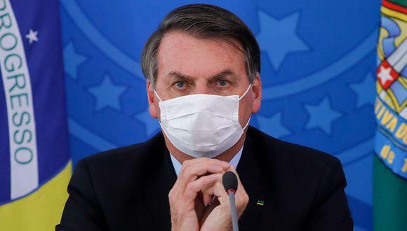 Jair Bolsonaro, durante una conferencia de prensa sobre la pandemia de coronavirus en el Palacio de Planalto, Brasilia. (Foto: Archivo / AFP / Sergio Lima).