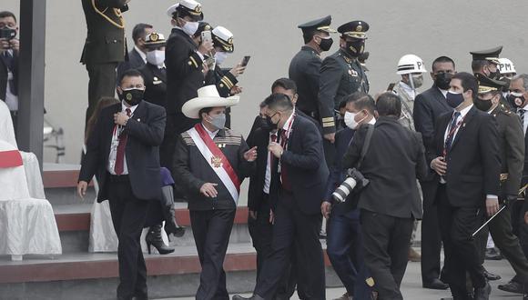 Pedro Castillo se retiró del evento en San Borja. (Foto: GEC)