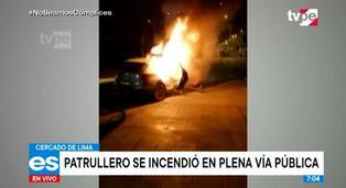 Cercado de Lima: patrullero de la PNP se incendió en plena vía pública