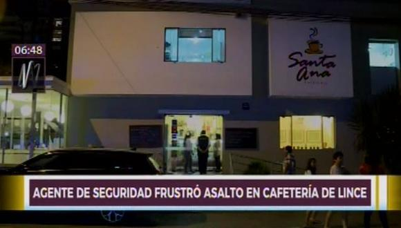 Agente de seguridad frustró asalto en cafetería en Lince. (Captura: Canal N)