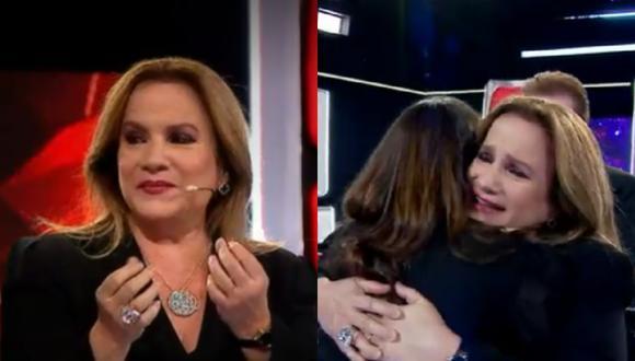 La cantante del dúo Pimpinela llora al ser sorprendida por su hija. (Foto: Captura Latina).