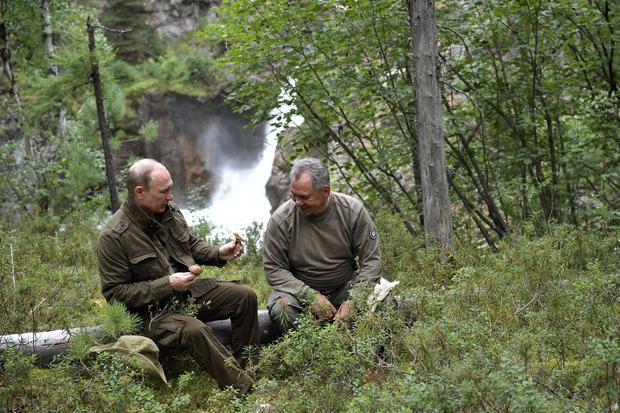 Putin with Sergei Shoigu in the remote region of Tuva.