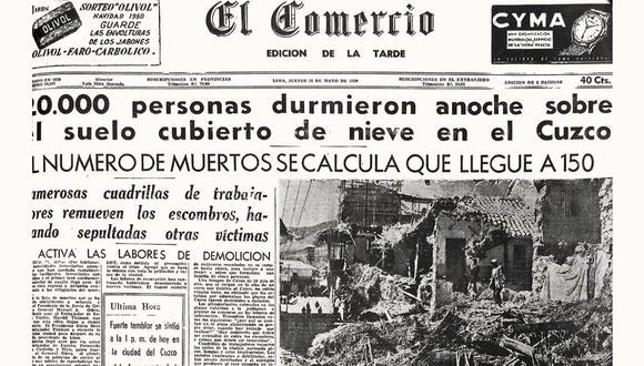 La noticia del terremoto del Cusco, el domingo 21 de mayo de 1950, conmovió al país y concitó la inmediata solidaridad internacional. El Comercio dio cuenta de esta tragedia durante semanas.