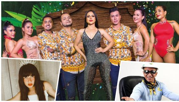 """Al fondo, músicos, bailarinas y la vocalista Linda Caba de Explosión de Iquitos. en los extremos inferiores, la Ucgulú y el Ingeniero Bailarín; que popularizaron el tema """"No sé"""" en redes sociales como TikTok. (Foto: archivo personal de la familia Flores Vásquez/ Instagram)"""