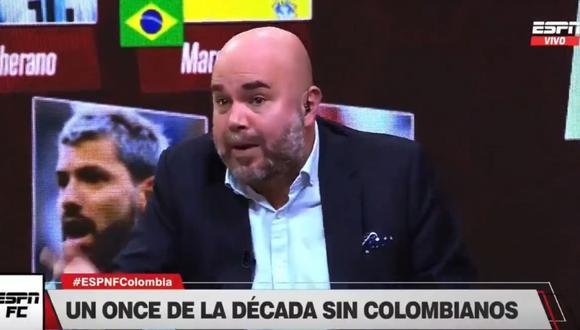 Andrés Marocco, reconocido periodista colombiano de ESPN, explotó porque no se incluyó a ningún colombiano en el once ideal de la década de la IFFHS | Foto y Video: ESPN