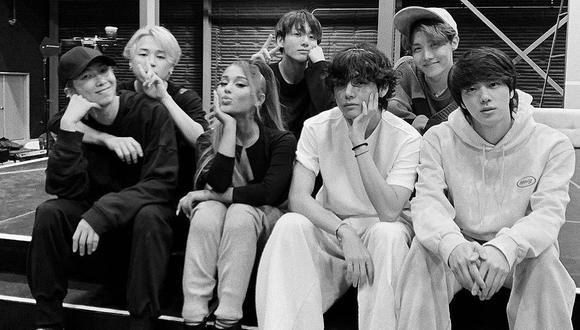 Ariana Grande sorprendió con fotografía junto a BTS durante ensayos de los Grammy 2020. (Foto: Instagram)