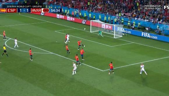 El mediocampista de Marruecos sorprendió a todos los integrantes de España. La pelota finalmente chocó en el ángulo de la portería de David de Gea, quien quedó inmóvil ante la acción. (Foto: captura de video)