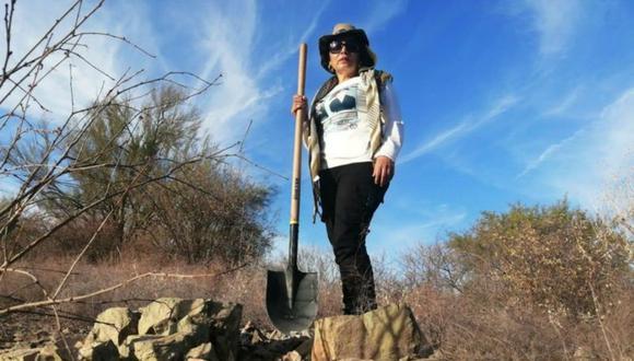 Cecilia Delgado durante una de las numerosas excavaciones en las que ha participado. (Foto: cortesía)