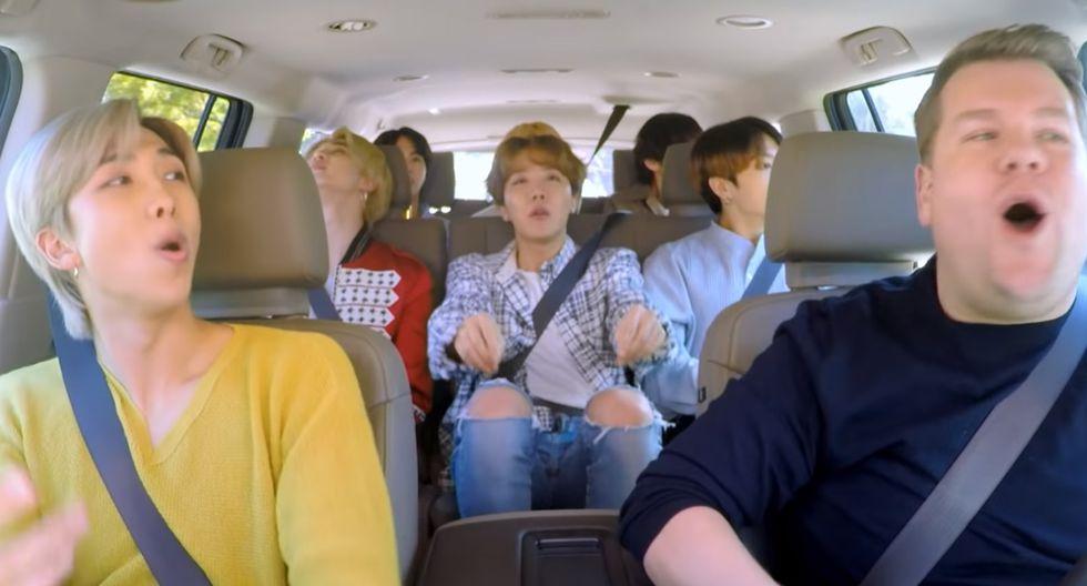 Los chicos de BTS serán los protagonistas del nuevo 'Carpool Karaoke' con James Corden. (Foto: James Corden YouTube)