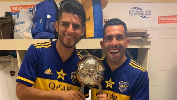 La celebración de Carlos Zambrano en el vestuario de Boca Juniors. (Foto: Twitter)