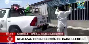 Coronavirus en Perú: se realiza desinfección de patrulleros en Surquillo