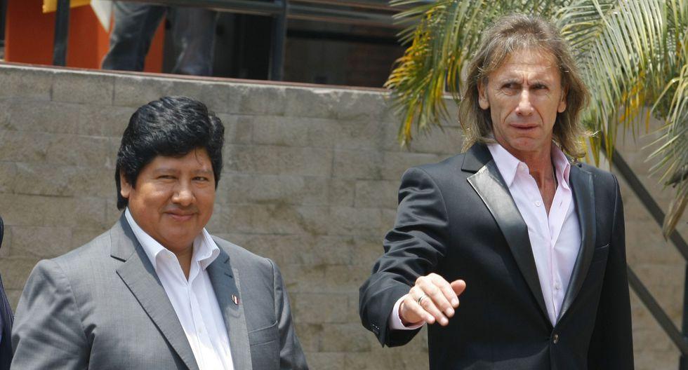 Ricardo Gareca se habló sobre Edwin Oviedo. El técnico de la selección peruana resaltó la gestión del dirigente al frente de la FPF. (Foto: GEC)