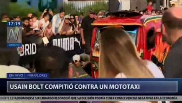 Usain Bolt hizo de las suyas tras vencer en una competencia a un mototaxi. (Captura: Canal N)