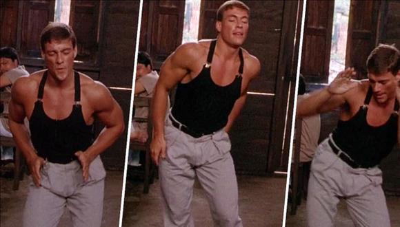 """El recordado baile de Jean-Claude Van Damme en """"Kickboxer"""" (1989). El actor belga cumple 60 años este domingo. (Captura de pantalla)"""