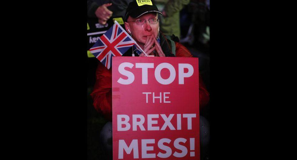 Brexit: Las fotos de la celebración de quienes se oponían al acuerdo de la separación de Reino Unido de la Unión Europea propuesto por Theresa May. (AP)