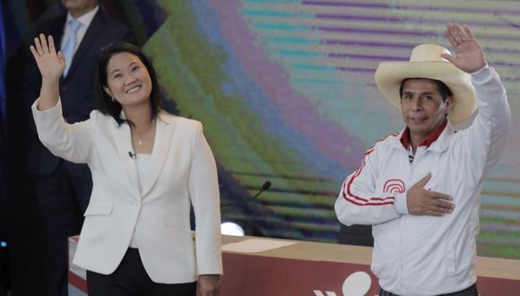 Pedro Castillo y Keiko Fujimori se encontrarán en el evento organizado por el JNE a 8 días de las elecciones generales. FOTO: Leandro Britto / @photo.gec
