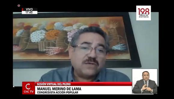 Manuel Merino reaparece en sesión del pleno del Congreso de este miércoles. (Foto: Captura)