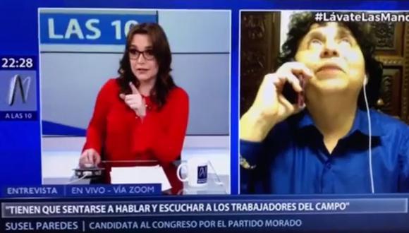 Temblor sorprendió a Melissa Peschiera y Susel Paredes durante entrevista en vivo. (Foto: Captura de video)