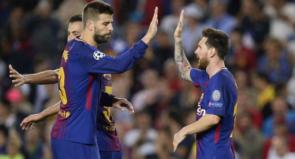 Piqué y Messi en el Barcelona. (Foto: AFP)