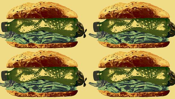 """""""Según cálculos conservadores, ingerimos entre 5 y 7 gramos de microplásticos cada semana. En otras palabras, nos comemos un kilo de plástico cada tres años"""". (Ilustración: Víctor Aguilar Rúa)."""