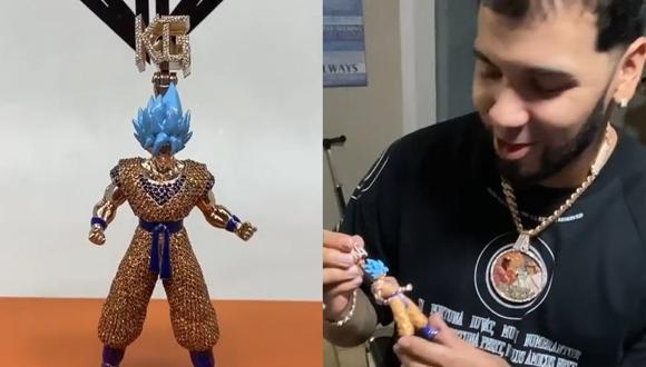 Karol G y el extravagante regalo que le dio a Anuel: un Gokú de oro y diamantes. (Foto: Captura de video)