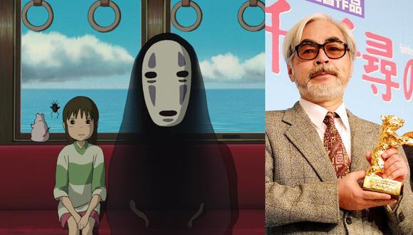 """A la derecha, Chihiro y Sin Rostro en una escena clave de """"El  viaje de Chihiro"""" (2001). A la derecha, Hayao Miyazaki con el Oso de Oro de Berlín que ganó por la cinta. También obtuvo el Oscar a Mejor película animada, pero no fue a la ceremonia para recibirlo. Fotos: Ghibli/ AFP."""