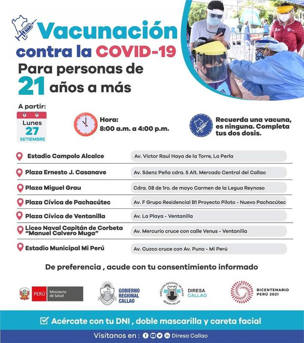 Get to know the vaccinations in charge of Dirisa Callao.