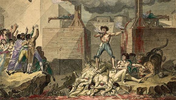 Reinado del Terror: Uno de los políticos de la Revolución, de pie sobre una pila de cuerpos decapitados entre dos guillotinas, bebiendo sangre de un cáliz mientras llena otro con la sangre de la víctima recién decapitada. (Foto: Getty)