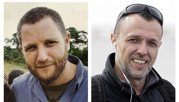 Los periodistas españoles David Beriain (isquierda) y Roberto Fraile, asesinados en Burkina Faso mientras grababan un documental sobre caza furtiva. (EFE/ Discovery Max/Jm García).