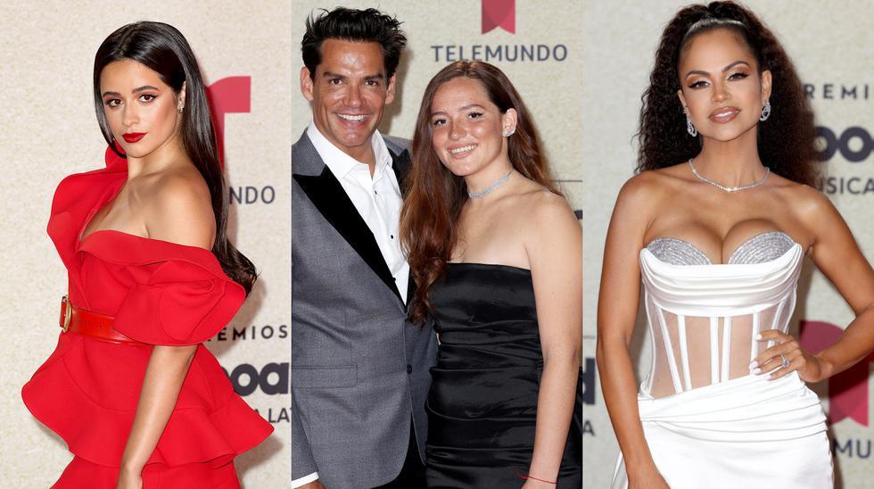 Camila Cabello, Cristian de la Fuente, Laura de la Fuente Castro y Natti Natasha en el evento de los Billboard Latin Music Awards 2021. Fotos: TELEMUNDO INTERNACIONAL.