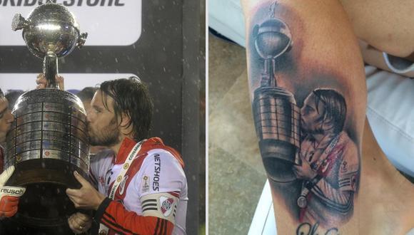 Fernando Cavenaghi se tatuó el trofeo de la Copa Libertadores