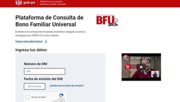 Bono BFU: Consulta aquí todas las modalidades y requisitos para cobrar el Bono Familiar Universal S/760 | Imagen: Captura BFU.gob.pe