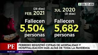 Febrero registró las cifras más altas de mortalidad y hospitalización en toda la pandemia de covid-19